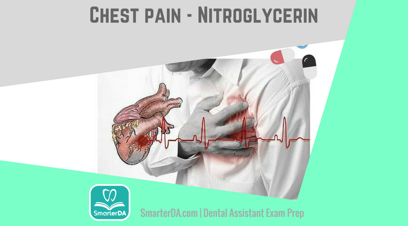 Q: What do you give a patient who is experiencing severe chest pain while in the dental chair?
